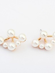 Women's Elegant Pearls Beaded Flower Cute Stud Earrings