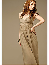 Fashion Hot Sale Pure Color Halter Deep V-neck Long Dress Khaki