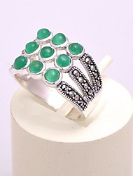 AS 925 Silver Jewelry  Exquisite Green Agate Ring