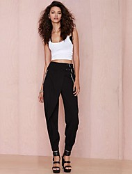Women's Solid Black Casual Pants Zipper