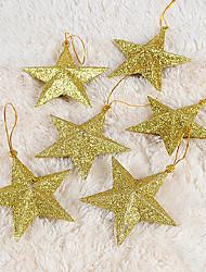 conjunto de oro estrella de cinco puntas 6 adornos de navidad, de plástico