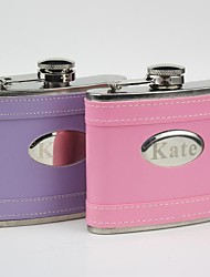 Personalized Gift Pink/Purple  Leather 5 oz  Curve Flask