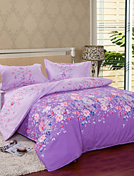 Mingjie® Purple Flowers Queen and Twin Size Sanding Bedding Sets 4pcs for Girls and Boys Bed Linen China Wholesale