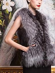 chaleco sin mangas de zorro plateado de las mujeres