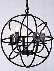 hierro colgante de luz 6 luces estilo rural forjado