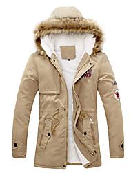 Senleisi Men's Fleece Thick Fashion Warm Cotton Coat 1312#(Khaki,Black)