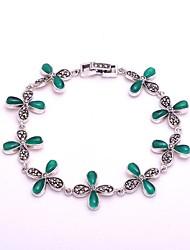 AS 925 Silver Jewelry   Clover Green Agate Bracelet