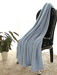 Super Soft Blue,Solid Solid Polyester/Polyamide Blankets W130×150cm(W50×60in)