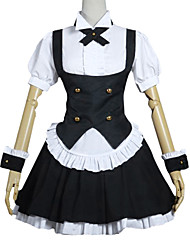 Inspired by Is the order a rabbit? Cosplay Anime Cosplay Costumes Cosplay Suits Patchwork Black Short SleeveBlouse / Dress / Headpiece /