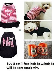 comprar 2 obtener 1 arco de pelo gratis, un paquete de 2 perro camisetas ventas del grupo patrón diferentes (diferentes tamaños)