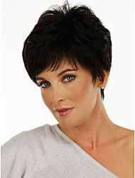 Capless Short Black Curly  Human Hair Wigs