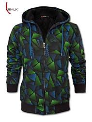 casuais jaqueta com capuz de walk®men Manwan fino de espessura com complexo de impressão diamante.