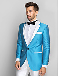 Blue&White Polyester Slim Fit Two-Piece Tuxedo