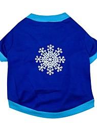 Gatos / Cães Camiseta Azul Roupas para Cães Primavera/Outono Floco de Neve