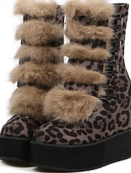 Women's Spring / Fall / Winter Platform / Round Toe / Fashion Boots Fur / Velvet Office & Career / Dress / Party & Evening Wedge Heel