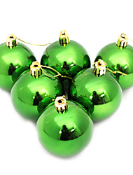 Set of 6 Green Christmas Tree Decorative Balls