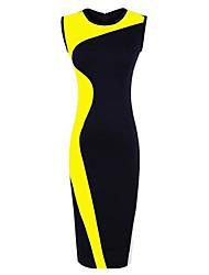 женская цвет блока платье карандаша, экипаж necksleeveless