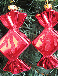 juego de 2 adornos de navidad colorido, plástico, color al azar dulce