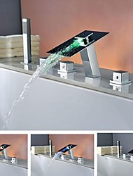 Bathtub Faucet - Contemporary - LED / Waterfall / Handshower Included - Brass (Chrome)