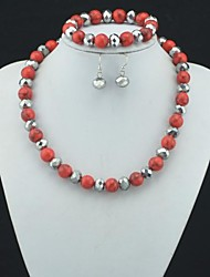 Toonykelly Fahionable Red Turquoise Bead with Glass(Necklace and Bracelet and Earring) Jewelry Set