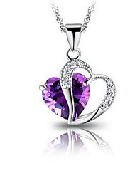 Ladies' Silver Heart-Shaped Amethyst Crystal Pendant