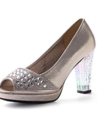 Women's Shoes Peep Toe Chunky Heel Leather Pumps Wedding Shoes More Colors available