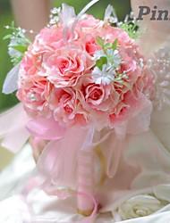 elegante forma redonda doces rosas bouquet de noiva de noiva pequenos (mais cores)