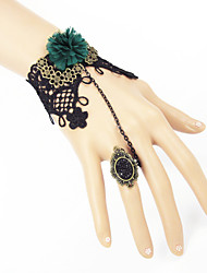 Retro Gothic Black Lace Bracelet Ring Set