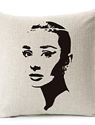 Audrey Hepburn retrato algodão / linho fronha decorativo
