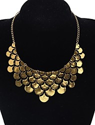 Lureme®Gold Plated Scales Shaped Alloy Necklace