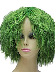 Capless Heat Resistant Fiber Cheap Green Short Fluffy Party Wigs