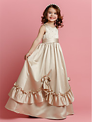 Flower Girl Dress - A-line Longueur ras du sol Sans manches Satin