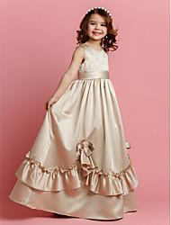 Lanting Bride® Trapèze Longueur Sol Robe de Demoiselle d'Honneur Fille - Satin Sans Manches Bijoux avec Billes Noeud(s) Ceinture / Ruban