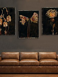 E-HOME® Stretched LED Canvas Print Art Flower Flash effect LED Set of 3