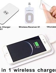 Qi wireless Charger Pad + Wireless Receiver Adapter + TPU Soft Clear Case Set for iphone 5 5S