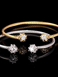 U7® 18K Real Gold /Platinum Plated AAA+ Cubic Zircon Cuff Bracelets