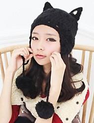 Damenmode Katze Ohr mit Kugel warme Strick Hut