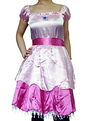 super mario princess peach manches courtes satin rose costume de cosplay