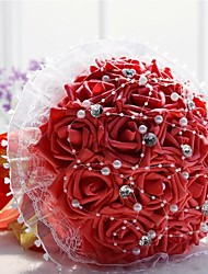 "Wedding Flowers Round Roses Bouquets Wedding Polyester Lace Rhinestone 7.87""(Approx.20cm)"
