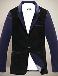 cuello solapa chun zheng hombres todo a juego overcoat_l1042 color sólido