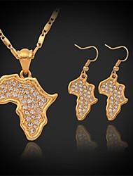 Ensemble de bijoux Imitation de diamant Strass Plaqué or Afrique Carte Set de Bijoux Mariage Soirée Quotidien Décontracté SportsColliers