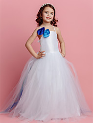 Ball Gown Sweep / Brush Train Flower Girl Dress - Tulle Spaghetti Straps with Flower(s)