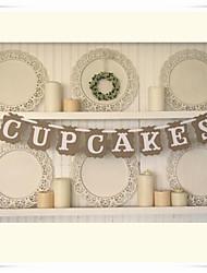 "Hot! ""CUPCAKES"" Banner Vintage Rustic Wedding Party Kids Birthday Bunting Garlands"