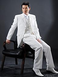 White Polyester Slim Fit four-Piece Tuxedo
