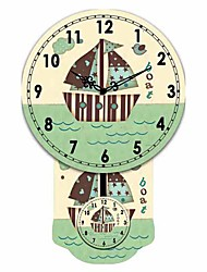 Mordern Ship Pattern Wooden Round Wall Clock