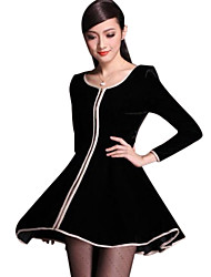 Women's Package Side Zipper Even Bigger Sizes Pleuche Long-sleeved Plus Size Dress
