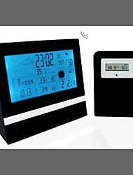 LCD Alarm Clock Weather Station Digital Clock Calendar Thermometer Hygrometer(Black)