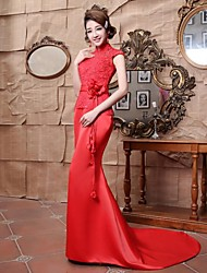 Mermaid / Trumpet High Neck Floor Length Satin Evening Dress with Beading