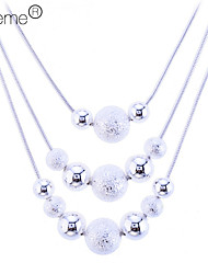 Lureme®925 Sterling Silver Plated Three-layers Matte Balls Necklace