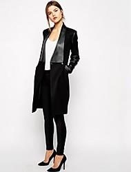 moda elegante solapa chaquetas de tweed de las mujeres